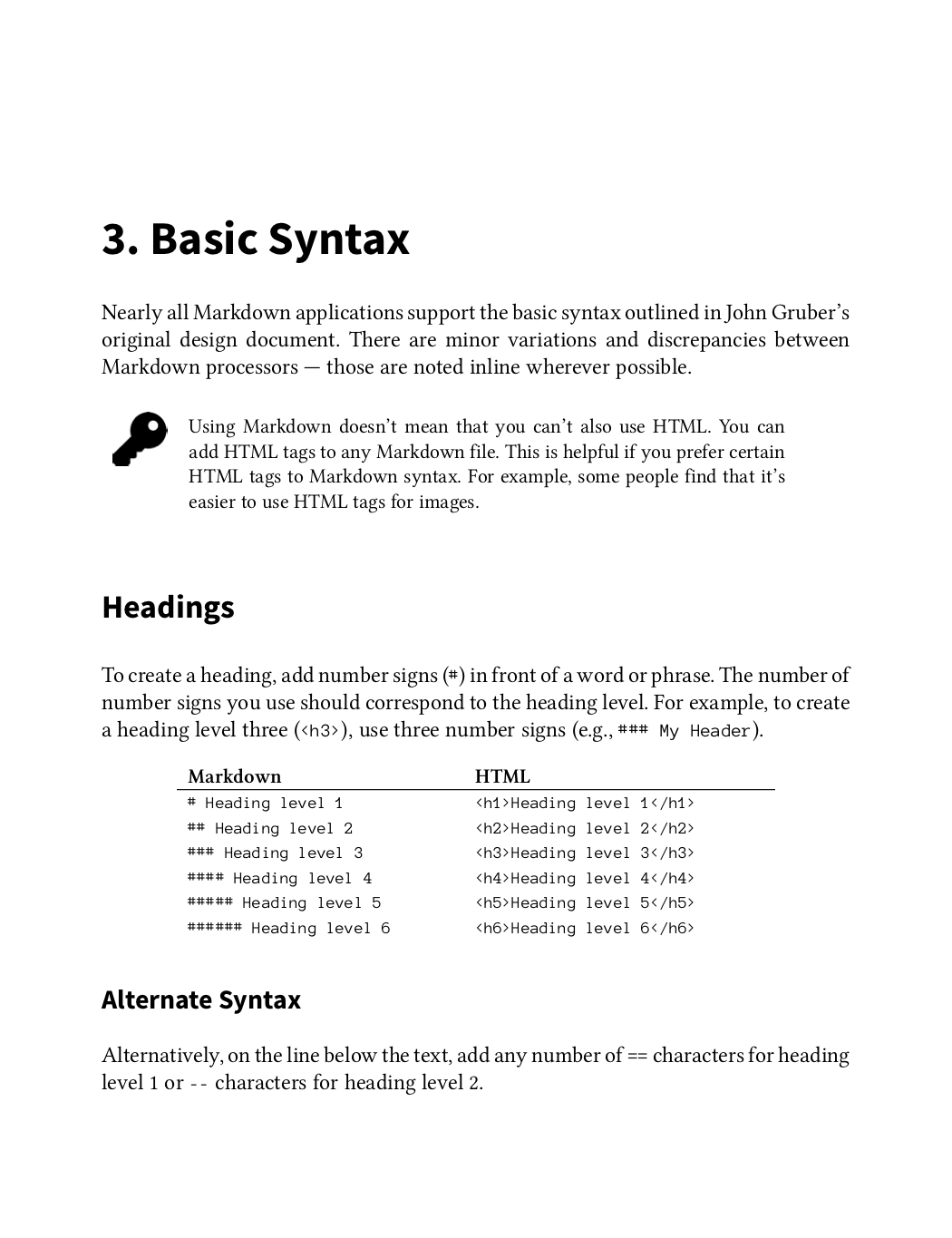 The Markdown Guide book page one